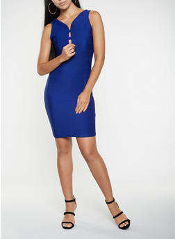 Caged Front Bodycon Dress - 3096058753963