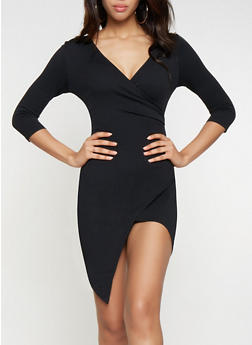 Textured Knit Faux Wrap Dress - 3096058754143