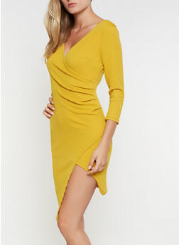 Textured Knit Faux Wrap Dress - 3096058754143
