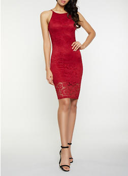Sleeveless Lace Bodycon Dress - 3096058754621