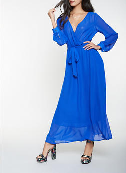 Faux Wrap Maxi Dress - 3096074280156