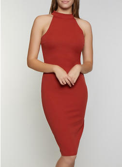 Choker Neck Midi Bodycon Dress - 3096075172057