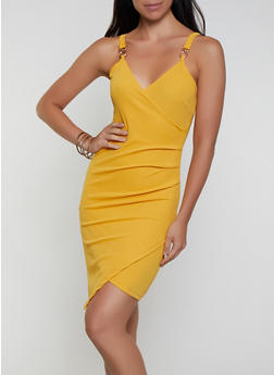 Faux Wrap Ruched Bodycon Dress - 3096075172058
