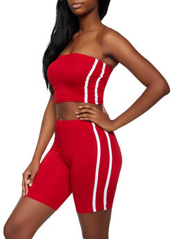 Varsity Stripe Tube Top and Bike Shorts Set - 3097038344798