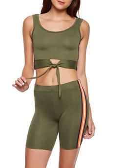 Tie Front Tank Top and Bike Shorts Set - 3097038344799