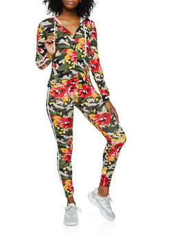Floral Camo Hooded Top and Leggings Set - 3097058750472