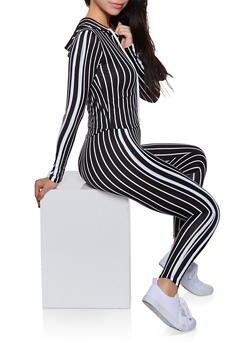 Striped Soft Knit Hooded Top and Leggings - 3097058750474