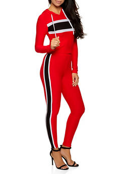Color Block Detail Hooded Top and Leggings Set - 3097061630156