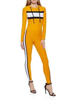 Color Block Detail Hooded Top and Leggings Set - 3097061630156