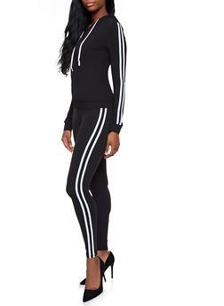 Varsity Stripe Hooded Sweatshirt and Leggings Set - 3097061630190