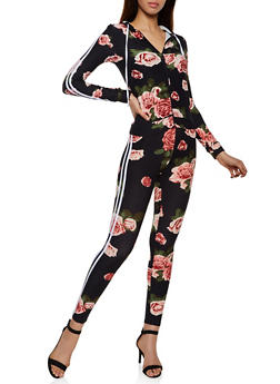 Floral Hooded Zip Top and Leggings Set - 3097061630194