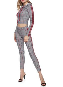 Varsity Stripe Hooded Plaid Top and Leggings Set - 3097061631300