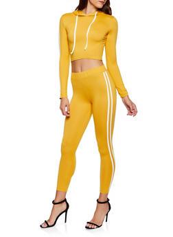 Hooded Varsity Stripe Top with Leggings - 3097073379002