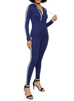 Varsity Stripe Hooded Top and Leggings - 3097073379003