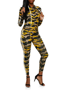 Varsity Stripe Camo Hooded Top with Leggings - 3097073379004
