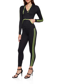 Soft Knit Varsity Stripe Zip Front Sweatshirt and Leggings - 3097073379007