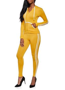 Soft Knit Varsity Stripe Zip Front Sweatshirt and Leggings - 3097073379007