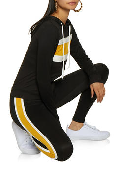 Color Block Zip Top and Leggings Set - 3097073379012