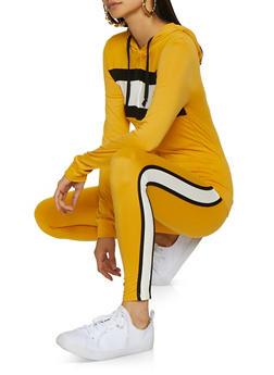 Color Block Zip Top and Leggings Set - 3097073379012