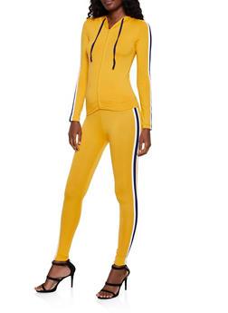 Contrast Varsity Stripe Hooded Top and Leggings - 3097073379020