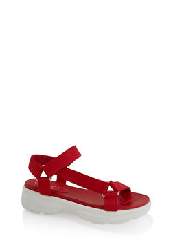 Asymmetrical Strap Sporty Platform Sandals - 3110004062286