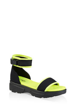 Neon Sporty Buckle Platform Sandals - NEON YELLOW - 3110004062293