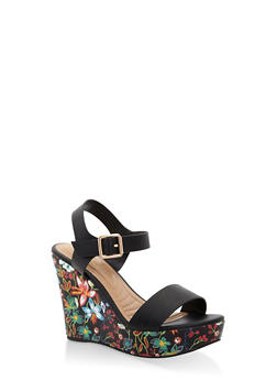 Floral Wedge Sandals - BLACK - 3110004062357