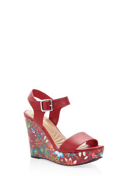 Floral Wedge Sandals - 3110004062357