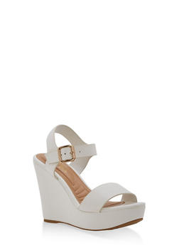 Faux Leather Ankle Strap Wedge Sandals - WHITE - 3110004062358