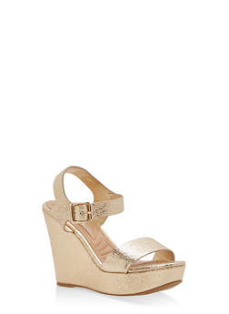 Faux Leather Ankle Strap Wedge Sandals - GOLD - 3110004062358