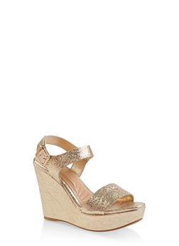 Ankle Strap Wedge Sandals - GOLD - 3110004062359