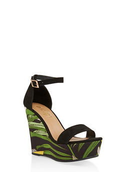 Printed Wedge Platform Sandals - 3110004062465