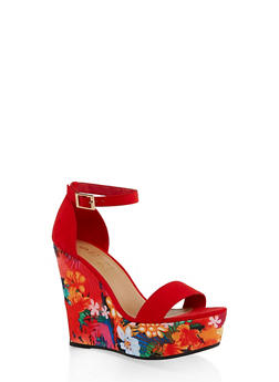 4a52473b0ad Printed Wedge Platform Sandals - RED S - 3110004062465