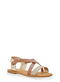 Glitter Cross Strap Sandals - TAN - 3110004062538