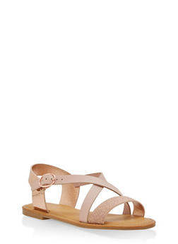 Glitter Cross Strap Sandals - BLUSH - 3110004062538