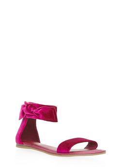 Velvet Ankle Bow Sandals - 3110004062554