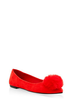 Pom Pom Pointed Toe Flats - RED S - 3110004063427