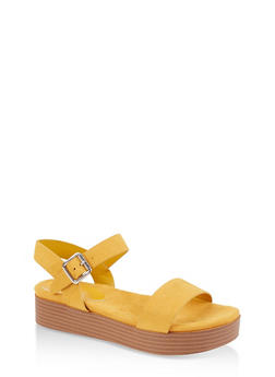 One Band Platform  Ankle Strap Sandals - YELLOW S - 3110004064449