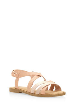 Strappy Shimmer Sandals - 3110004064478