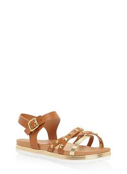 Studded Metallic Platform Sandals - TAN - 3110004064620