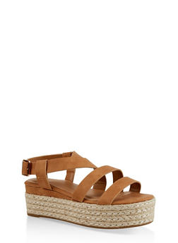 Strappy Espadrille Platform Sandals - 3110004064635