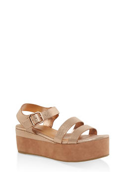 Double Band Ankle Strap Platform Sandals - GOLD - 3110004064638