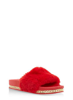Faux Fur Slides with Chain Link Trim - RED - 3110004064655