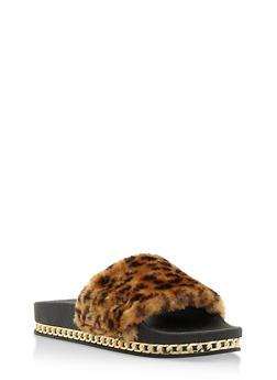 Faux Fur Slides with Chain Link Trim - LEOPARD PRINT - 3110004064655