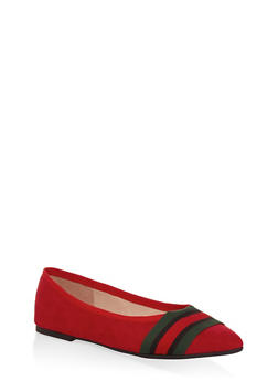 Striped Band Faux Suede Flats - RED - 3110004064671