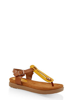 Two Tone Thong Footbed Sandals - 3110004065458
