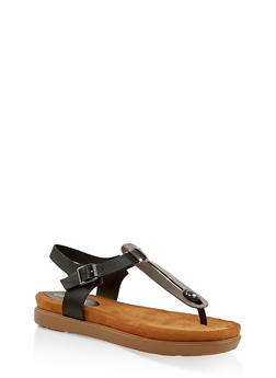 Two Tone Thong Footbed Sandals - PEWTER - 3110004065458