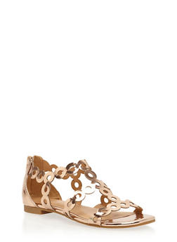 Metallic Strappy Circle Punch Sandals - 3110004066229