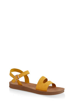 Asymmetrical Band Sandals - YELLOW - 3110004066278