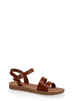 Asymmetrical Band Sandals - CHESTNUT - 3110004066278